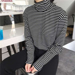 Brand Name: Liva girl Material: Polyester Sleeve Style: REGULAR Decoration: NONE Model Number: Striped Turtleneck Female T-shirt Fabric Type: Broadcloth Gender: Women Collar: Turtleneck Tops Type: Tees Clothing Length: REGULAR Pattern Type: Striped Item Type: Tops Sleeve Length(cm): Full Style: Casual