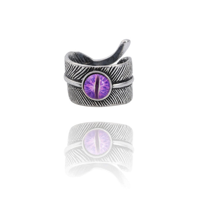 Snake Evil Eye Ring - Purple