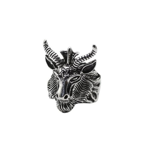 Metal Goat Pentagram Ring