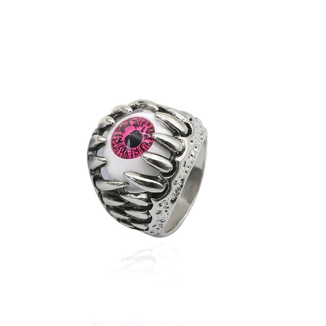 Metal Claw & Evil Eye Ring - Pink