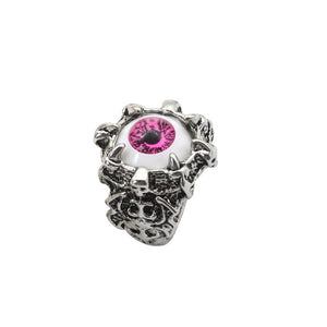 Metal Devil Evil Eye Ring - Pink