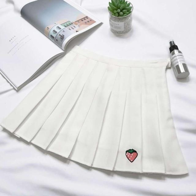 Material: COTTON Silhouette: Pleated Model Number: 0020 Style: Preppy Style Pattern Type: Solid Decoration: Embroidery color : white/red/black/pink/gray size : S M L XL offer : drop shipping high waist : pleated skirts item: women skirts harajuku: jupe femme mini skirt: candy color plus size: korean