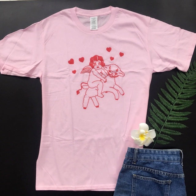 Angel Riding Lamb Short-Sleeve T-Shirt - Pink/Red, White/Red