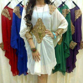 Mid-length kaftan tunic dress