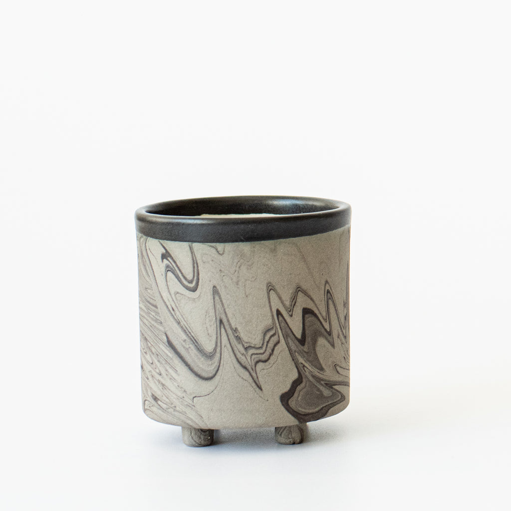 Black Marble Pot Small