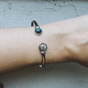 Earth and Moon Cuff Bracelet with Natural Stones