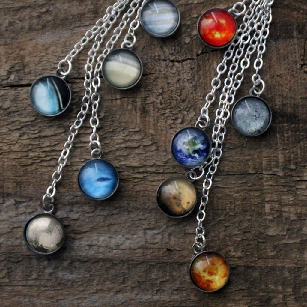 Sterling Silver Solar System Space Earrings