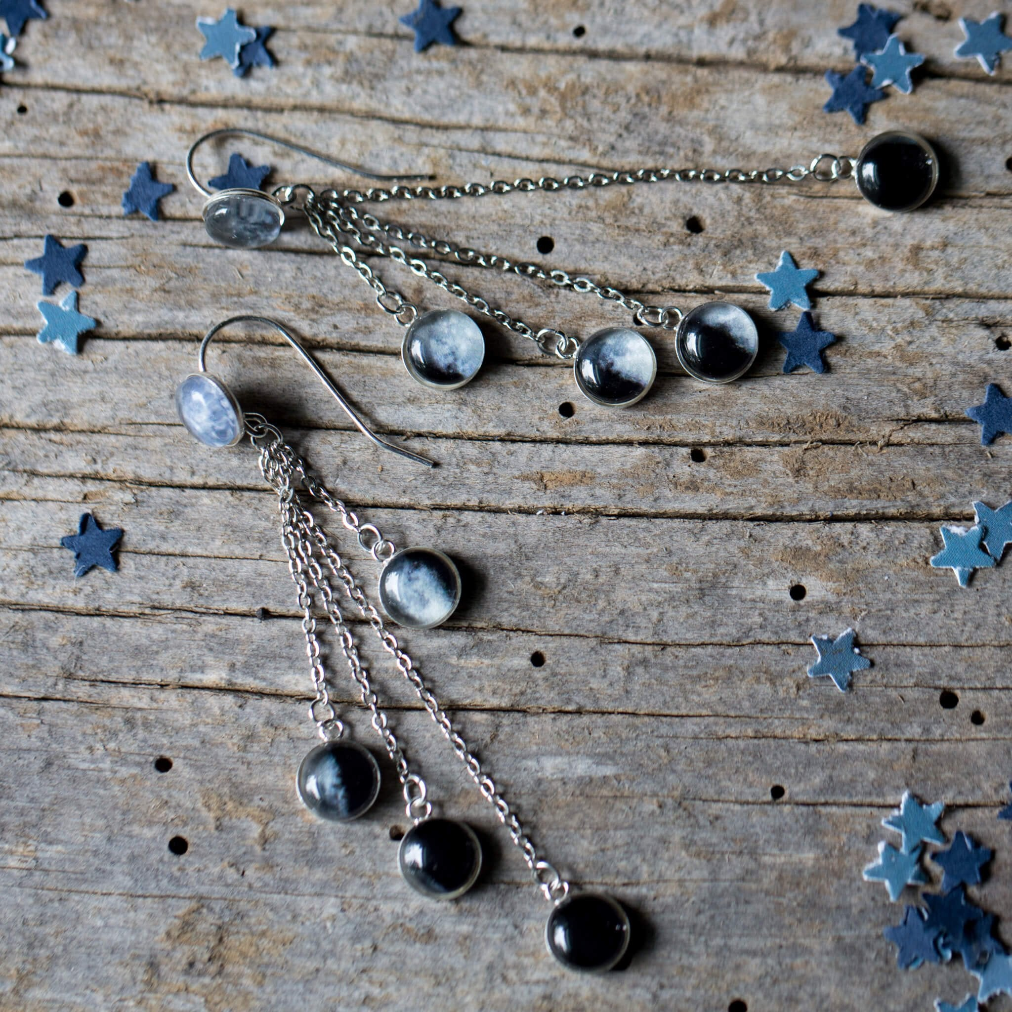 Moon Phase .925 Sterling Silver Layered Earrings