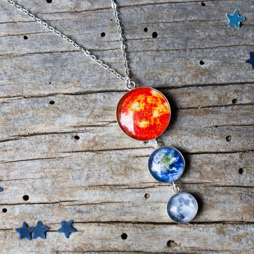 Earth Moon and Sun Sterling Silver Necklace