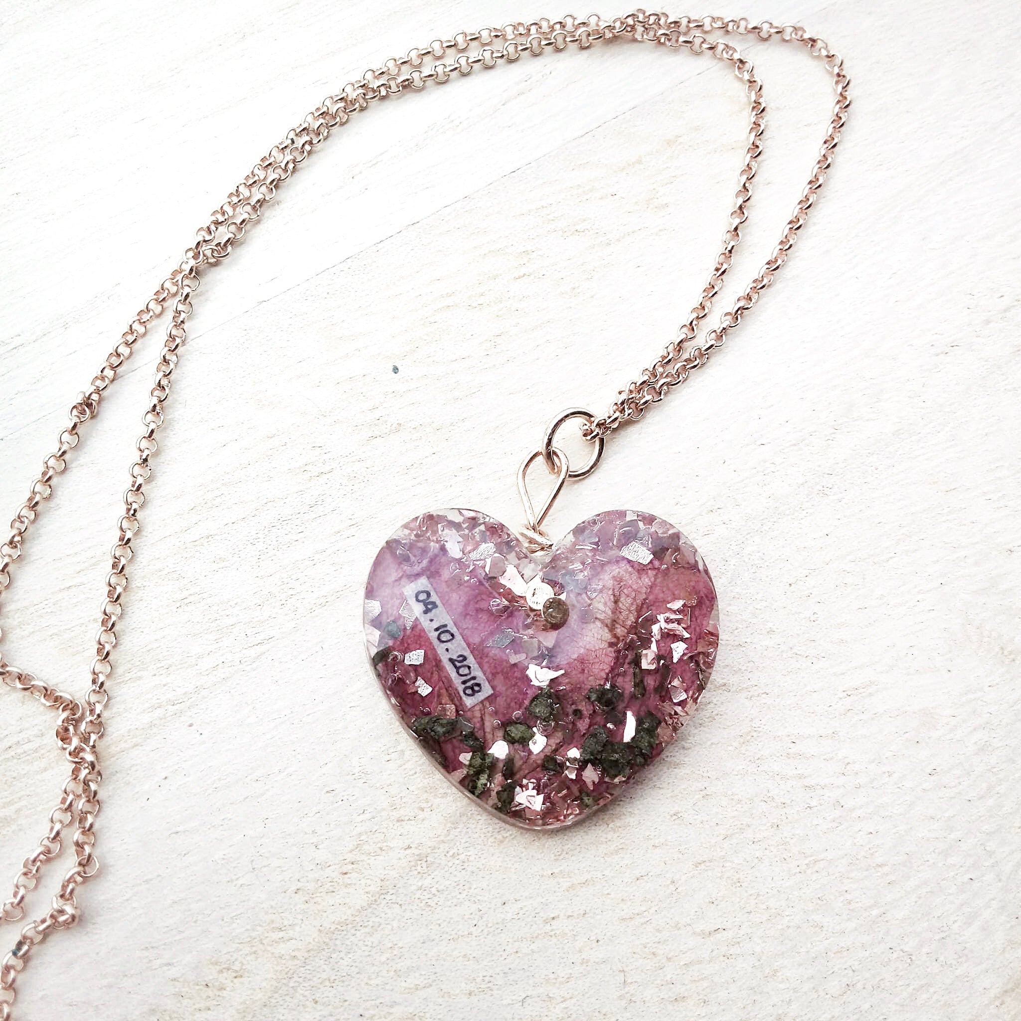 Flower Preservation in a Heart Necklace