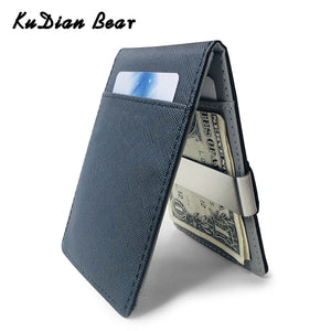 KUDIAN BEAR PU Leather Men Money Clip Metal Wallet Cash Brand Designer Men Wallet Bilfold Clamps Money Wallet BID261 PM49