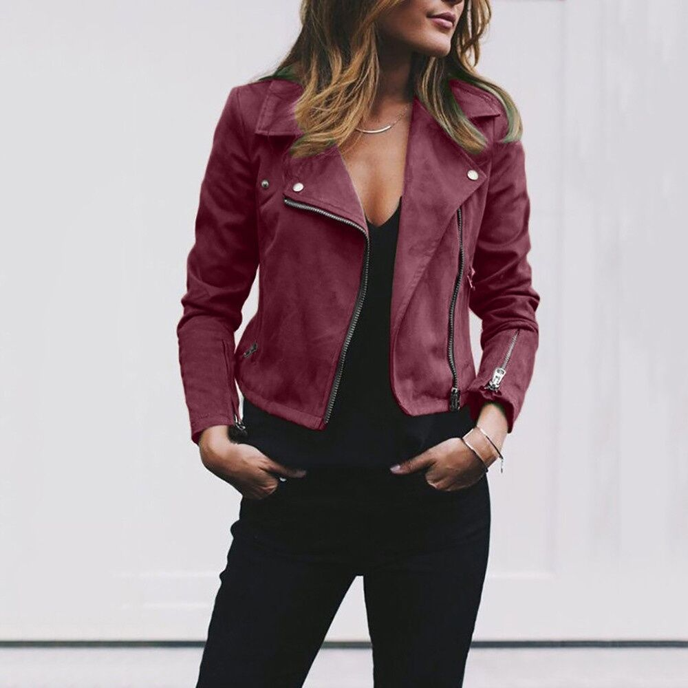 WEPBEL Autumn Ladies Fashion Basic Short Jackets Casual Women Tops Motorcycle Moto Short PU Leather Jacket Coat Slim