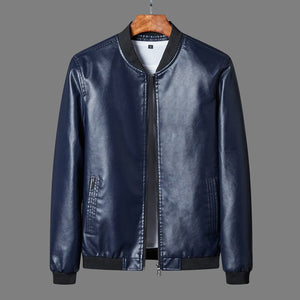 Men's Leather Jacket Design Stand Collar Coat Men Casual Motorcycle Leather Coat Mens Biker Faux Jackets Windbreaker Coats 8XL