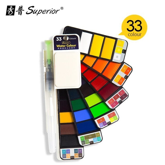 Superior 18/25/33/42 Solid Watercolor Paint Set With Water Brush Pen Foldable Travel Water Color Pigment For Draw Dropshipping