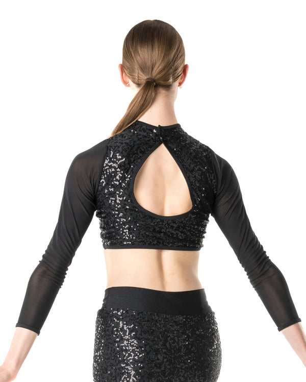 Studio 7,  Downtown Long Sleeve Crop Top, (3 Colours) Adults, ADCT10