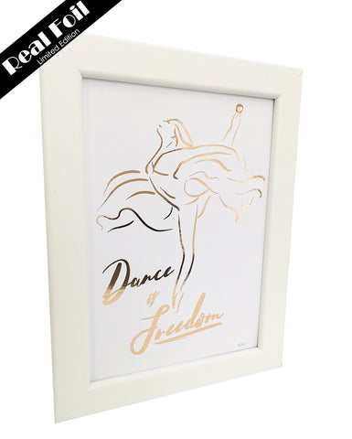 Framed Real Foil Print, 'Dance is Freedom', Rose Gold on White, A5