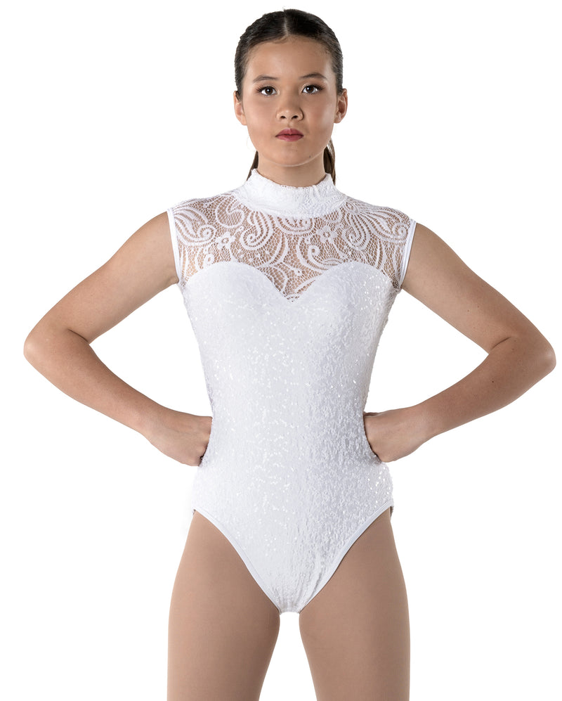 Studio 7, Deco Lace Leotard, Adults, WHITE, ADL03