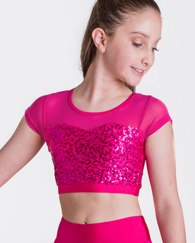 Studio 7, Attitude Sequin Crop Top, (6 Colours) Childs, CHCT08