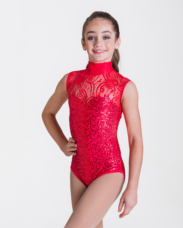 CLEARANCE, Studio 7, Deco Lace Leotard, Adults, RED, ADL03