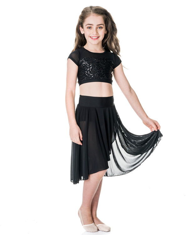Studio 7, Inspire Mesh Skirt, Black, Childs, CHSK05