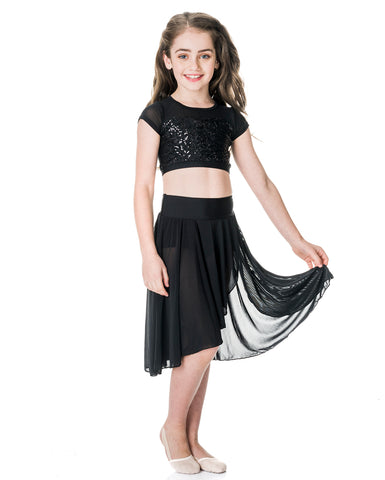 c49bfc3843c66 Studio 7, Inspire Mesh Skirt, Black, Childs, CHSK05