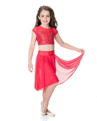 Studio 7, Inspire Mesh Skirt, Red, Childs, CHSK05
