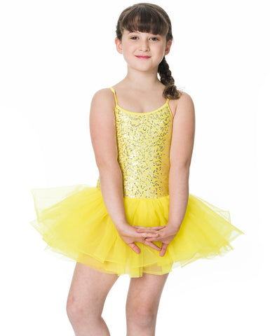 Studio 7, Sequin Tutu Dress, Yellow, Childs, CHTU04