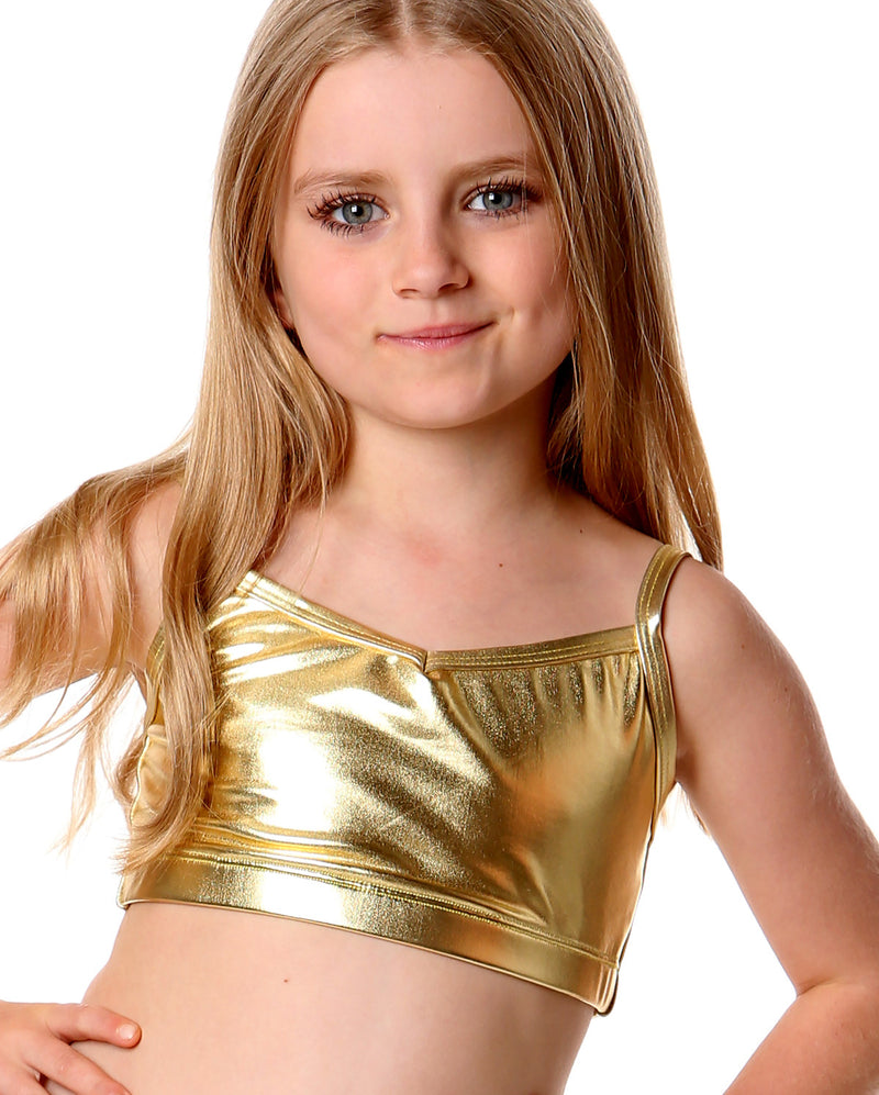 Studio 7 Metallics, Crop Top, Gold, Childs, CHCT02