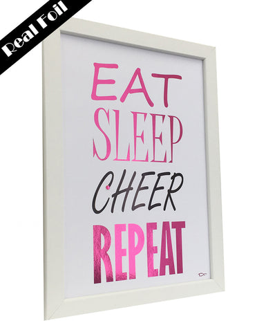 Framed Real Foil Print, 'EAT-SLEEP-CHEER-REPEAT', Pink on White,  A4 or A5