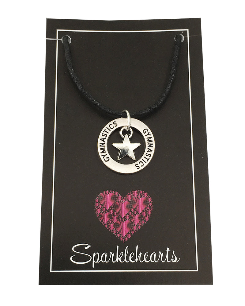 Sparklehearts Black Cord Necklace with Charms - Gymnastics