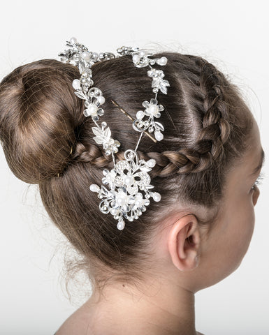 Studio 7, Floral Comb Headband, Crystal White, HB06