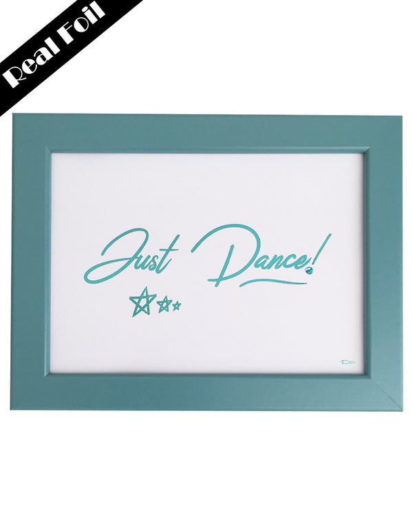 Framed Real Foil Print, 'JUST DANCE' Stars, Aqua on White, A4 or A5