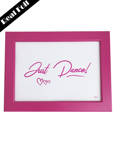 Framed Real Foil Print, 'JUST DANCE' Hearts, Hot Pink on White, A4 or A5