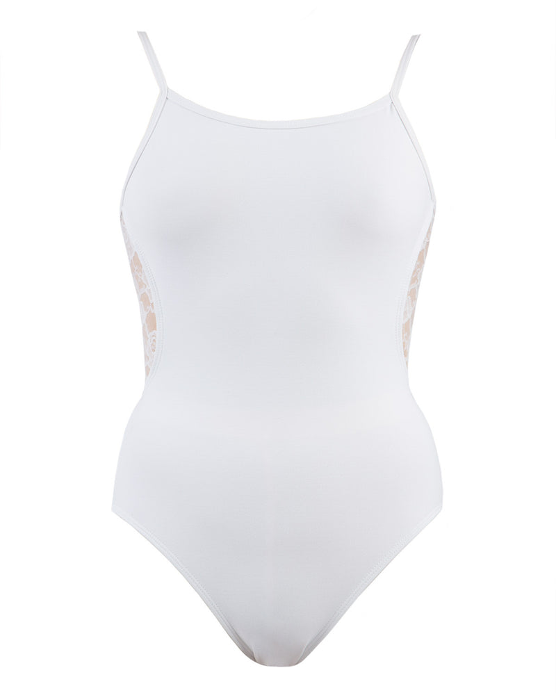 Energetiks Lace Back Camisole Leotard, Adults, WHITE, AL70
