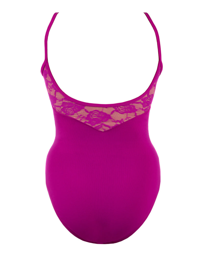 Energetiks Lace Detail Camisole Leotard, Adults, MAGENTA, AL71