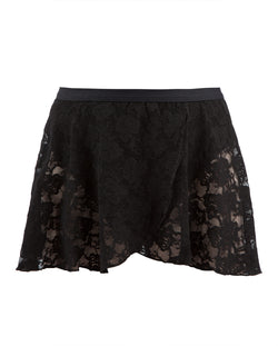 Energetiks Mock Wrap Lace Skirt, Adults, Black, AS37
