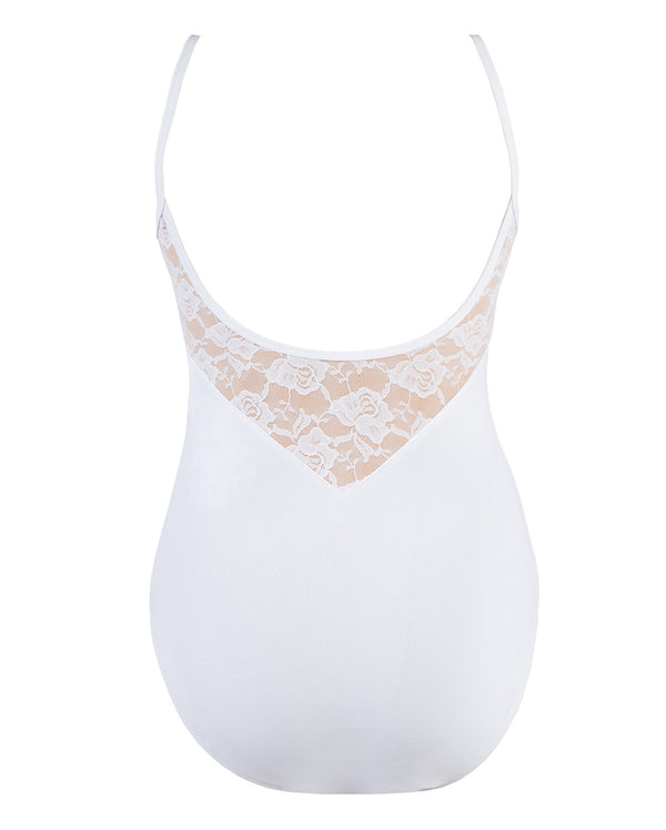 Energetiks Lace Detail Camisole Leotard, Childs, WHITE, CL71