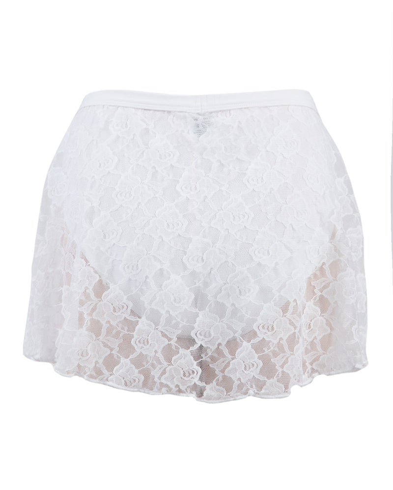 Energetiks Mock Wrap Lace Skirt, Childs, WHITE, CS37