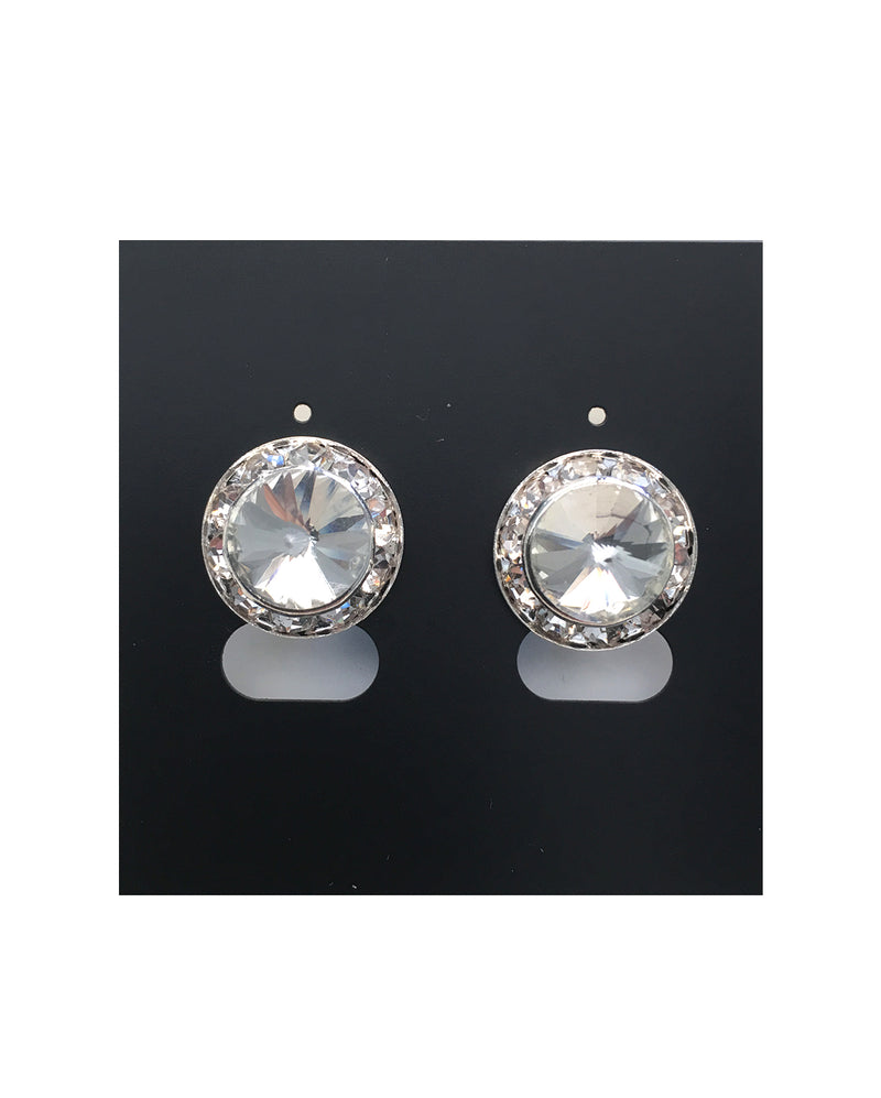CLEARANCE, Diamante Earrings, Rivoli clear crystal (Pierced or Clip-on) - 15mm