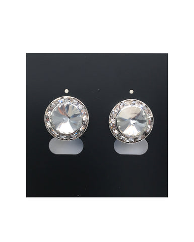 Diamante Earrings, Rivoli clear crystal (Pierced or Clip-on) - 15mm