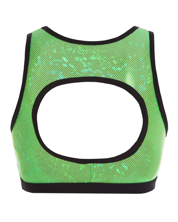 Energetiks 'Shattered Glass' Evelyn Crop Top, Girls, FLURO LIME, GCC114