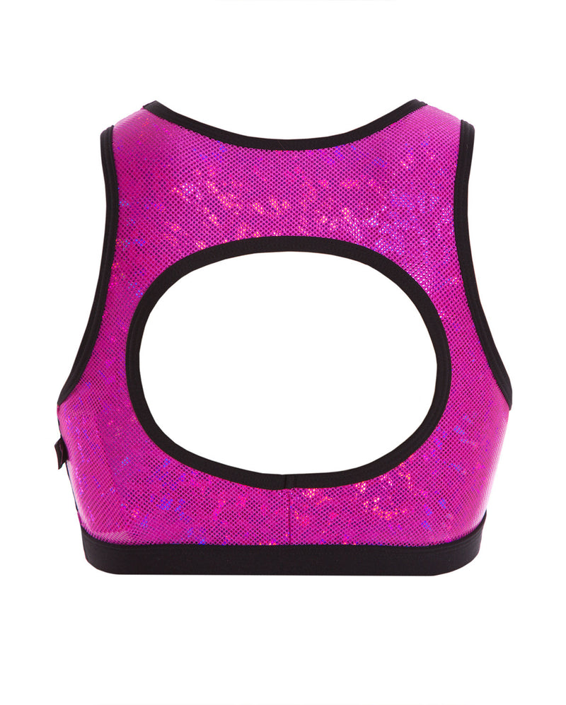Energetiks 'Shattered Glass' Evelyn Crop Top, Girls, HOT PINK, GCC114