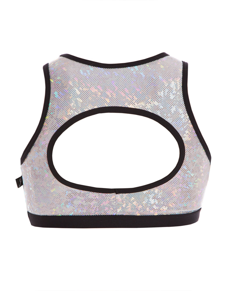 Energetiks 'Shattered Glass' Evelyn Crop Top, Girls, SILVER, GCC114