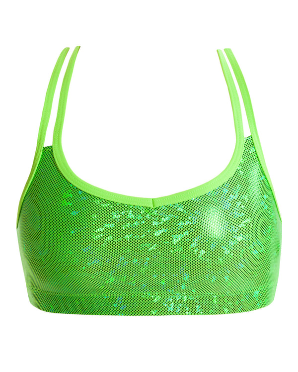 Energetiks 'Shattered Glass' Cross Back Crop Top, Adults, FLUORO LIME, GAC33