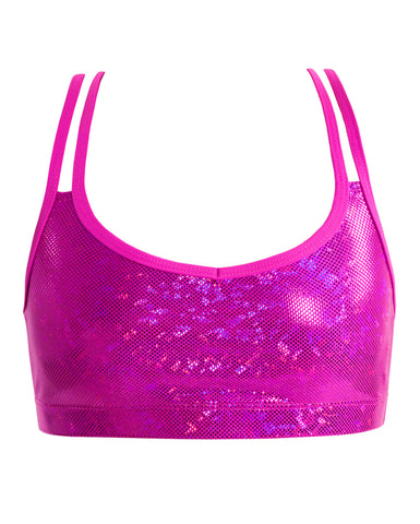 Energetiks 'Shattered Glass' Cross Back Crop Top, Adults, HOT PINK, GAC33