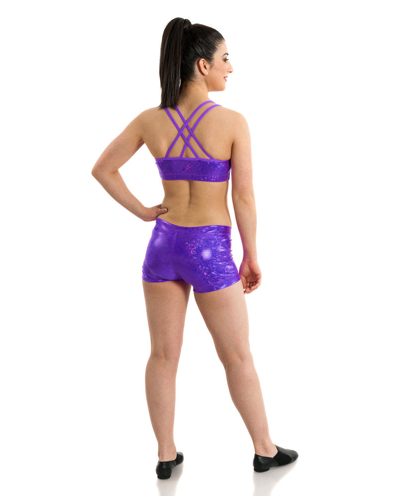 Energetiks 'Shattered Glass' Cross Back Crop Top, Adults, PARTY PURPLE, GAC33