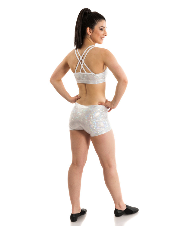 Energetiks 'Shattered Glass' Cross Back Crop Top, Adults, SILVER, GAC33