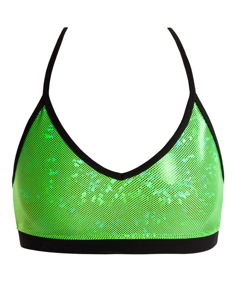 Energetiks 'Shattered Glass' Detailed Crop Top, Adults, FLUORO LIME, GAC94