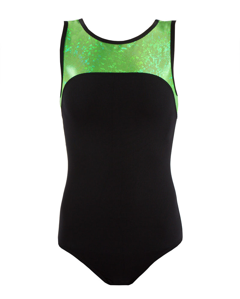 Energetiks 'Shattered Glass' Boat Neck Leotard, Adults, FLUORO LIME, GAL100