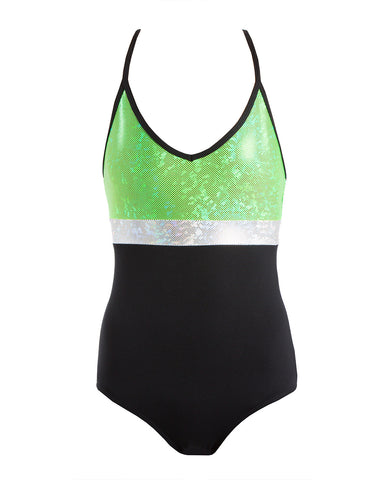 Energetiks 'Shattered Glass' Spliced Triple Strap Leotard, Childs, FLUORO LIME, GCL104